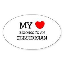 My Heart Belongs To An ELECTRICIAN Oval Decal