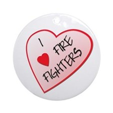 I heart / love firefighters Ornament (Round)