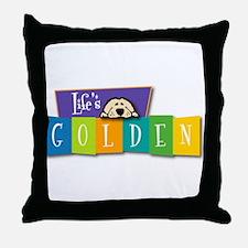 Life's Golden Retro Throw Pillow