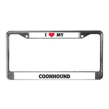 I Love (Heart) My Coonhound License Plate Frame