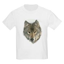 """""""Gray Wolf Face"""" Kids T-Shirt"""