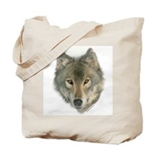"""Gray Wolf Face"" Tote Bag"