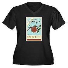 Travel Georgia Women's Plus Size V-Neck Dark T-Shi