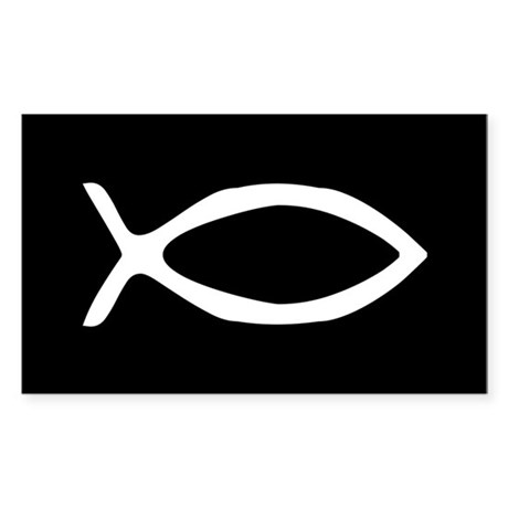 White Jesus Fish Rectangle Sticker