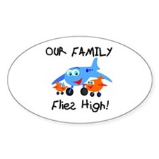 Our Family Flies High Oval Decal
