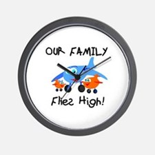 Our Family Flies High Wall Clock
