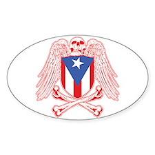 Puerto Rico Crossbones Oval Decal