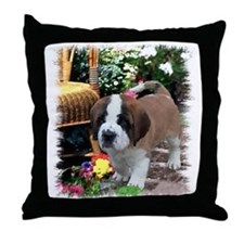 Saint Bernard Puppy Throw Pillow