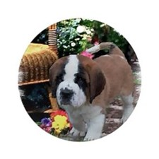 Saint Bernard Puppy Ornament (Round)