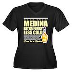 New Medina Women's Plus Size V-Neck Dark T-Shirt