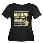 New Medina Women's Plus Size Scoop Neck Dark T-Shi