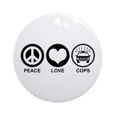 Peace Love Cops Ornament (Round)