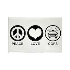 Peace Love Cops Rectangle Magnet