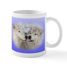 Kissing Arctic wolves mug