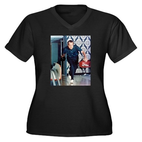 Nixon Bowling Women's Plus Size V-Neck Dark T-Shir