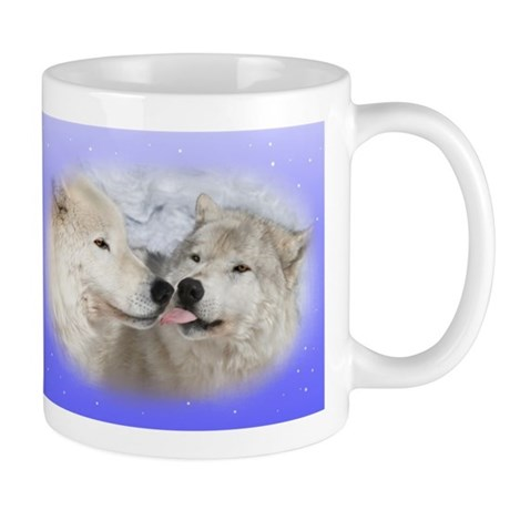 Kissing Arctic wolves Wolf mug