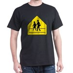 School Crossing Sign Black T-Shirt