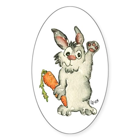 Bunny Rabbits Oval Sticker