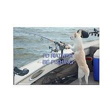 Fishing Dog Rectangle Magnet