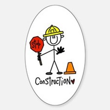 Basic Construction Worker Oval Decal