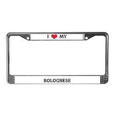 I Love (Heart) My Bolognese License Plate Frame
