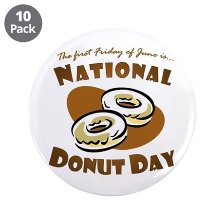 """June: National Donut Day 3.5"""" Button (10 pack"""