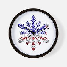 USA Snowflake Wall Clock