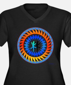Tribal Sun Lizard Women's Plus Size V-Neck Dark T-