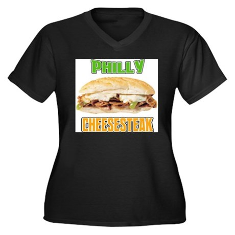Philly CheeseSteak Women's Plus Size V-Neck Dark T