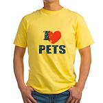 I Love Pets Yellow T-Shirt