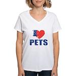 I Love Pets Women's V-Neck T-Shirt