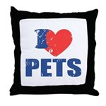 I Love Pets Throw Pillow