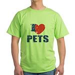 I Love Pets Green T-Shirt