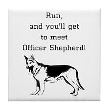K9 Officer Shepherd Tile Coaster