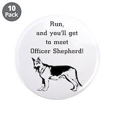 """K9 Officer Shepherd 3.5"""" Button (10 pack)"""
