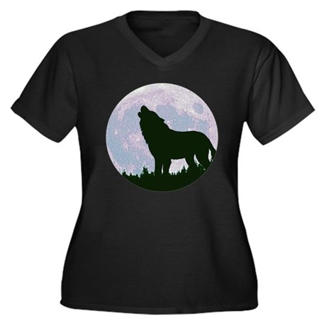Wolf and Moon Women's Plus Size V-Neck Dark T-Shir