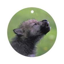 """Black Wolf Pup"" Ornament (Round)"