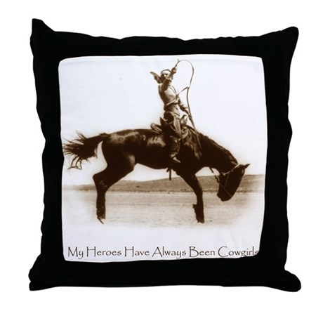 Cowgirl Hero antiqued image Throw Pillow