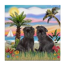 Palms - Brussels Griffon Pups Tile Coaster