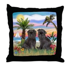 Palms - Brussels Griffon Pups Throw Pillow
