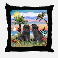 Palms - Brussels Griffon Pups Throw Pillow