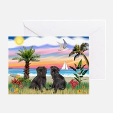 Palms - Brussels Griffon Pups Greeting Card