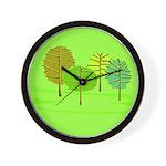 Groovy Green Trees Wall Clock