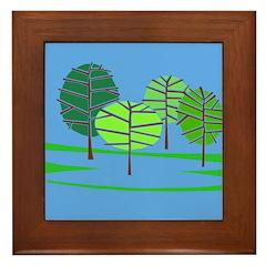 Groovy Blue Trees Framed Tile