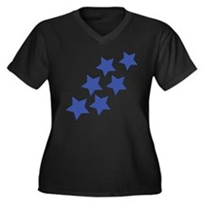 blue star rain Women's Plus Size V-Neck Dark T-Shi