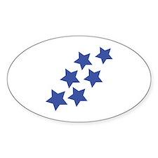 blue star rain Oval Decal