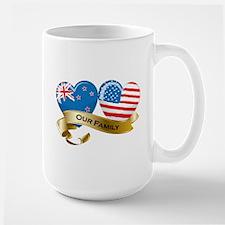 New Zealand/USA Flag_Our Family Large Mug