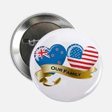 """New Zealand/USA Flag_Our Family 2.25"""" Button"""