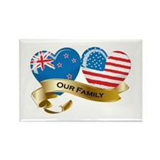 New Zealand/USA Flag_Our Family Rectangle Magnet (