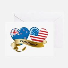 New Zealand/USA Flag_Our Family Greeting Card